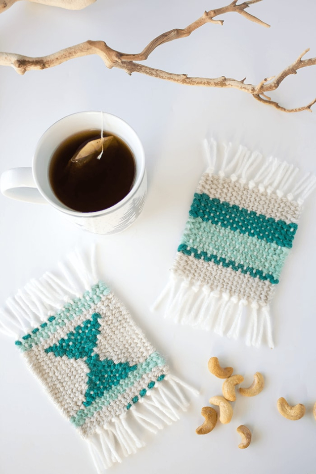 DIY Coasters - DIY Woven Coasters - Best Quick DIY Gifts and Home Decor - Easy Step by Step Tutorials for DIY Coaster Projects - Mod Podge, Tile, Painted, Photo and Sewing Projects - Cool Christmas Presents for Him and Her - DIY Projects and Crafts by DIY Joy http://diyjoy.com/diy-coasters