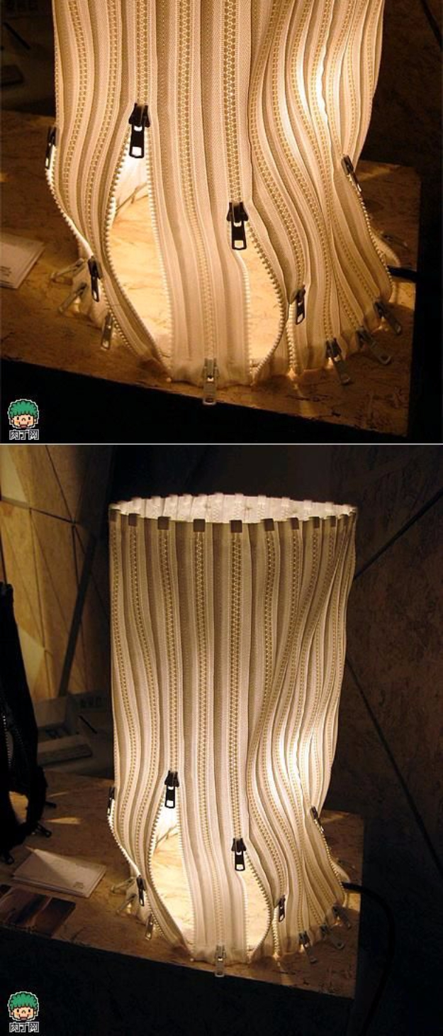 Creative DIY Projects With Zippers - DIY Zipper Lampshade - Easy Crafts and Fashion Ideas With A Zipper - Jewelry, Home Decor, School Supplies and DIY Gift Ideas - Quick DIYs for Fun Weekend Projects
