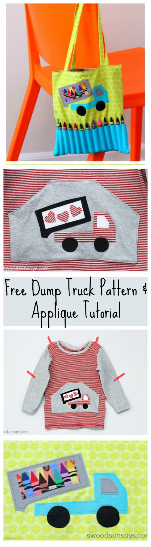 Best Sewing Projects to Make For Boys - Dump Truck Applique - Creative Sewing Tutorials for Baby Kids and Teens - Free Patterns and Step by Step Tutorials for Jackets, Jeans, Shirts, Pants, Hats, Backpacks and Bags - Easy DIY Projects and Quick Crafts Ideas #sewing #kids #boys #sewingprojects