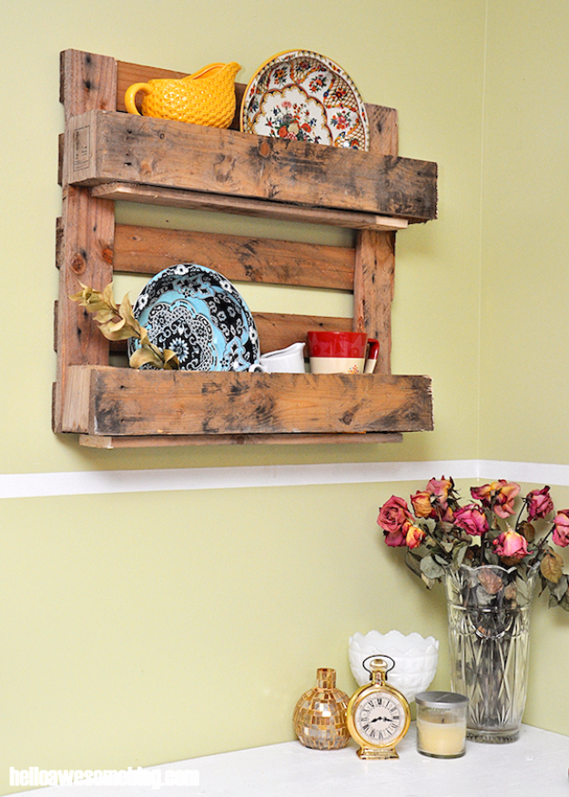 Best DIY Pallet Furniture Ideas - Decorative Pallet Shelf - Cool Pallet Tables, Sofas, End Tables, Coffee Table, Bookcases, Wine Rack, Beds and Shelves - Rustic Wooden Pallet Furniture Made Easy With Step by Step Tutorials - Quick DIY Projects and Crafts by DIY Joy http://diyjoy.com/best-diy-pallet-furniture-ideas