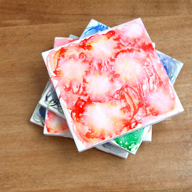 DIY Coasters - Dreamy Watercolor Tile Coasters - Best Quick DIY Gifts and Home Decor - Easy Step by Step Tutorials for DIY Coaster Projects - Mod Podge, Tile, Painted, Photo and Sewing Projects - Cool Christmas Presents for Him and Her - DIY Projects and Crafts by DIY Joy
