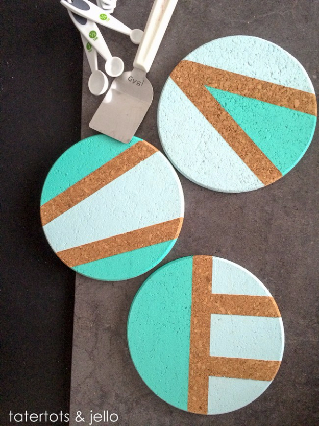 DIY Coasters - Easy Color Blocked Coaster Trivet DIY - Best Quick DIY Gifts and Home Decor - Easy Step by Step Tutorials for DIY Coaster Projects - Mod Podge, Tile, Painted, Photo and Sewing Projects - Cool Christmas Presents for Him and Her - DIY Projects and Crafts by DIY Joy http://diyjoy.com/diy-coasters