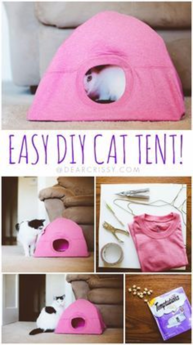 DIY Cat Hacks - Easy DIY Cat Tent - Tips and Tricks Ideas for Cat Beds and Toys, Homemade Remedies for Fleas and Scratching - Do It Yourself Cat Treat Recips, Food and Gear for Your Pet - Cool Gifts for Cats http://diyjoy.com/diy-cat-hacks