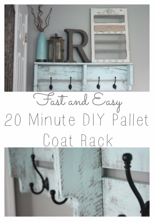 Best DIY Pallet Furniture Ideas - Easy DIY Pallet Coat Rack - Cool Pallet Tables, Sofas, End Tables, Coffee Table, Bookcases, Wine Rack, Beds and Shelves - Rustic Wooden Pallet Furniture Made Easy With Step by Step Tutorials - Quick DIY Projects and Crafts by DIY Joy