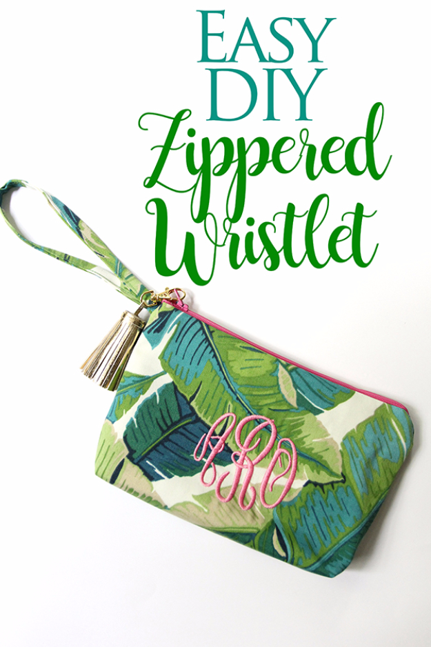 Creative DIY Projects With Zippers - Easy DIY Zippered Wristlet - Easy Crafts and Fashion Ideas With A Zipper - Jewelry, Home Decor, School Supplies and DIY Gift Ideas - Quick DIYs for Fun Weekend Projects