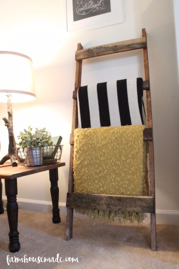 Best DIY Pallet Furniture Ideas - Easy Pallet Blanket Ladder - Cool Pallet Tables, Sofas, End Tables, Coffee Table, Bookcases, Wine Rack, Beds and Shelves - Rustic Wooden Pallet Furniture Made Easy With Step by Step Tutorials - Quick DIY Projects and Crafts by DIY Joy http://diyjoy.com/best-diy-pallet-furniture-ideas