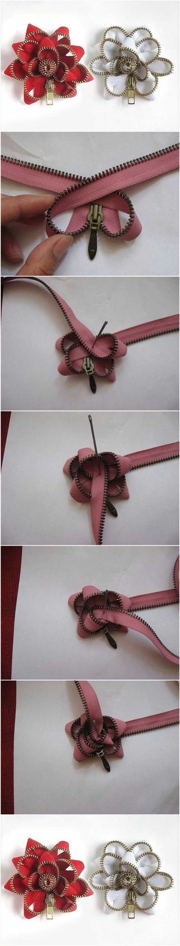 Creative DIY Projects With Zippers - Easy Zipper Flowers - Easy Crafts and Fashion Ideas With A Zipper - Jewelry, Home Decor, School Supplies and DIY Gift Ideas - Quick DIYs for Fun Weekend Projects http://diyjoy.com/diy-projects-zippers