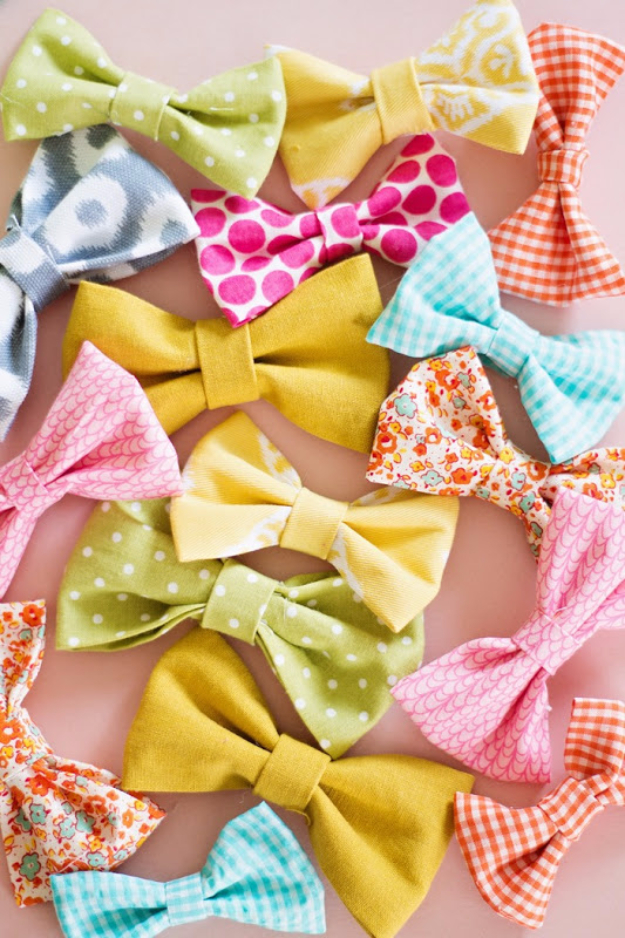 Best Sewing Projects to Make For Girls - Fabric Bows - Creative Sewing Tutorials for Baby Kids and Teens - Free Patterns and Step by Step Tutorials for Dresses, Blouses, Shirts, Pants, Hats and Bags - Easy DIY Projects and Quick Crafts Ideas http://diyjoy.com/cute-sewing-projects-for-girls