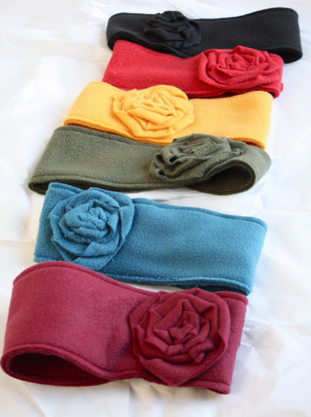 Best Sewing Projects to Make For Girls - Fleece Ear Warmers - Creative Sewing Tutorials for Baby Kids and Teens - Free Patterns and Step by Step Tutorials for Dresses, Blouses, Shirts, Pants, Hats and Bags #sewing #sewingideas