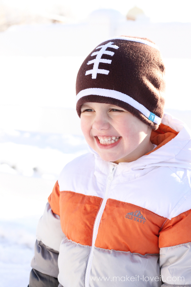 Best Sewing Projects to Make For Boys - Fleece Football Hat - Creative Sewing Tutorials for Baby Kids and Teens - Free Patterns and Step by Step Tutorials for Jackets, Jeans, Shirts, Pants, Hats, Backpacks and Bags - Easy DIY Projects and Quick Crafts Ideas #sewing #kids #boys #sewingprojects