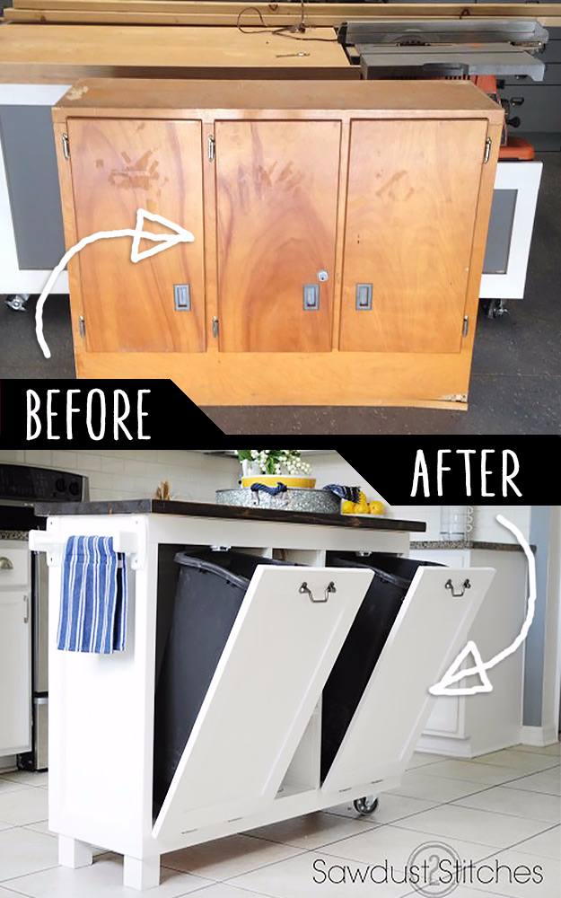 Best DIY Hacks for The New Year - Garage Sale Cabinet Into Kitchen Stand - Easy Organizing and Home Improvement Ideas - Tips and Tricks for Quick DIY Ideas to Simplify Life - Step by Step Hack Tutorials for Genuis Ways to Make Quick Things Easier http://diyjoy.com/best-diy-hacks
