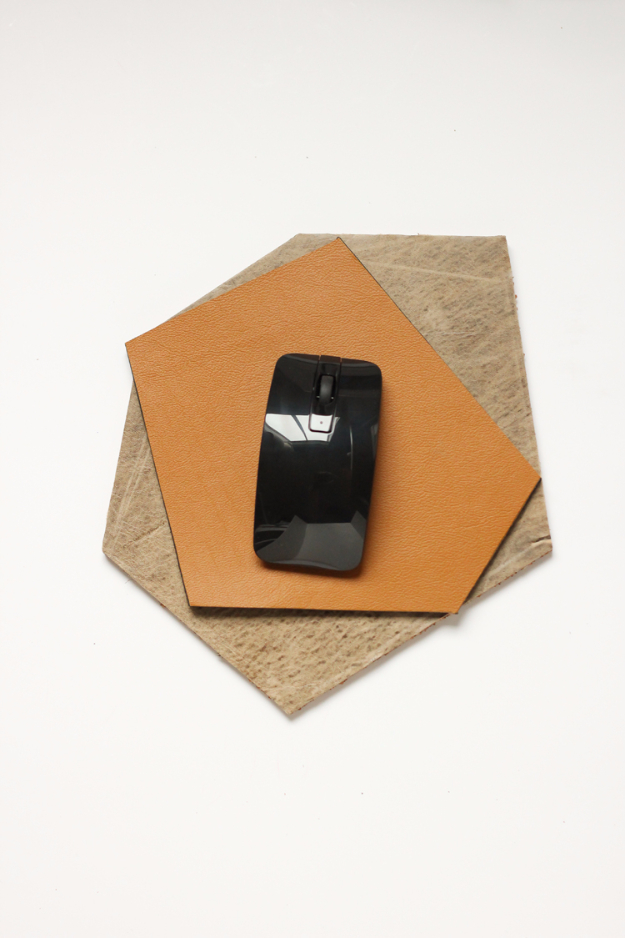 Creative Leather Crafts - Geometric Leather Mouse Pad - Best DIY Projects Made With Leather - Easy Handmade Do It Yourself Gifts and Fashion - Cool Crafts and DYI Leather Projects With Step by Step Tutorials http://diyjoy.com/diy-leather-crafts