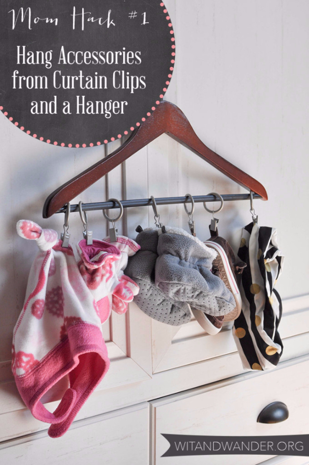 Best DIY Hacks for The New Year - Hang Accessories From Curtain Clips And Hanger - Easy Organizing and Home Improvement Ideas - Tips and Tricks for Quick DIY Ideas to Simplify Life - Step by Step Hack Tutorials for Genuis Ways to Make Quick Things Easier http://diyjoy.com/best-diy-hacks
