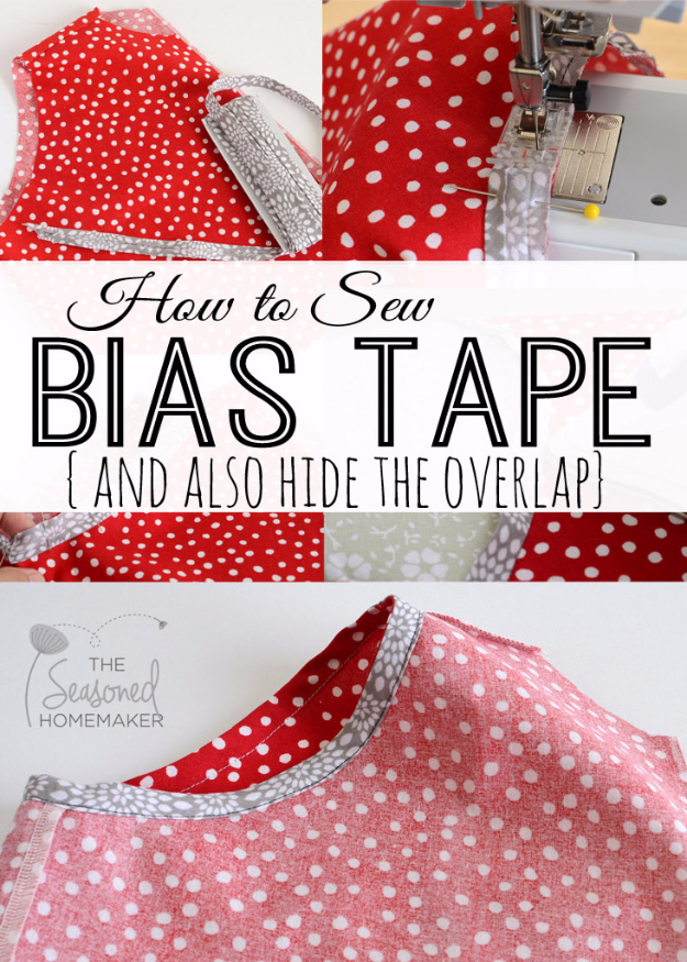 More Sewing Hacks - Hide Overlaps And Sew Bias Tape - Best Tips and Tricks for Sewing Patterns, Projects, Machines, Hand Sewn Items. Clever Ideas for Beginners and Even Experts - Easy Tutorials, Patten Shortcuts and How To http://diyjoy.com/best-diy-sewing-hacks