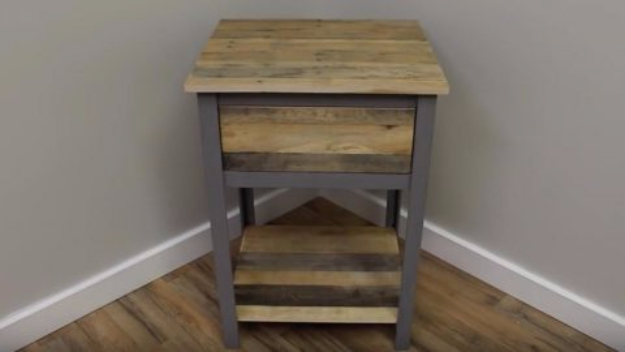 Best DIY Pallet Furniture Ideas - Industrial Pallet Night Stand - Cool Pallet Tables, Sofas, End Tables, Coffee Table, Bookcases, Wine Rack, Beds and Shelves - Rustic Wooden Pallet Furniture Made Easy With Step by Step Tutorials - Quick DIY Projects and Crafts by DIY Joy http://diyjoy.com/best-diy-pallet-furniture-ideas