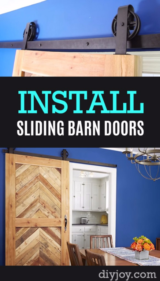 Best DIY Hacks for The New Year - Install Sliding Barn Doors In Tight Spaces - Easy Organizing and Home Improvement Ideas - Tips and Tricks for Quick DIY Ideas to Simplify Life - Step by Step Hack Tutorials for Genuis Ways to Make Quick Things Easier http://diyjoy.com/best-diy-hacks