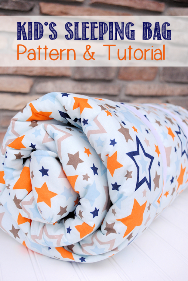 Easy Sewing Project to Make For Boys - Kid's Sleeping Bag Tutorial Step by Step- How to Make A Sleeping Bag - Baby Kids and Teens - Free Patterns and Step by Step Tutorials for Kids Clothing to Make #sewing #kids #sewingideas