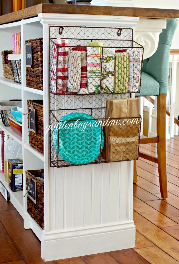 Best DIY Hacks for The New Year - Kitchen Island Wire Basket Organizer - Easy Organizing and Home Improvement Ideas - Tips and Tricks for Quick DIY Ideas to Simplify Life - Step by Step Hack Tutorials for Genius Ways to Make Quick Things Easier #diyhacks #hacks