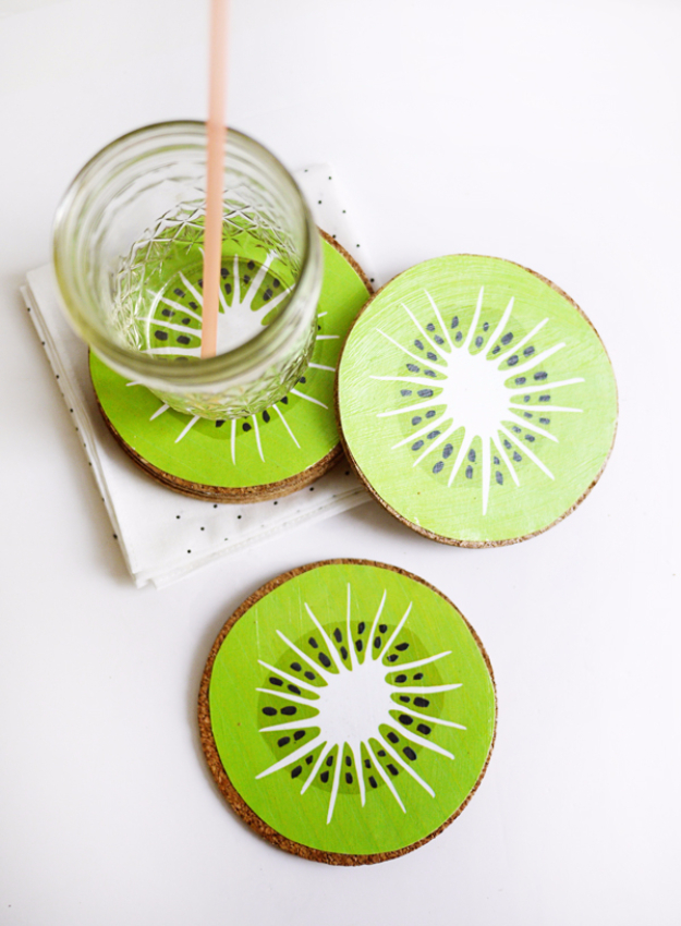 DIY Coasters - Kiwi Drink Coasters - Best Quick DIY Gifts and Home Decor - Easy Step by Step Tutorials for DIY Coaster Projects - Mod Podge, Tile, Painted, Photo and Sewing Projects - Cool Christmas Presents for Him and Her - DIY Projects and Crafts by DIY Joy http://diyjoy.com/diy-coasters