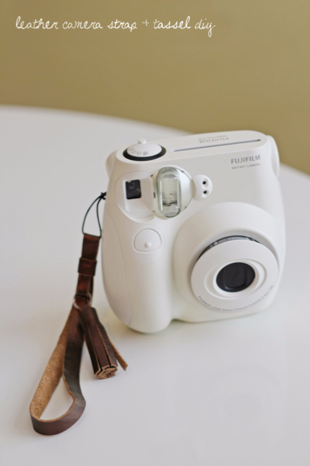 Creative Leather Crafts - Leather Camera Strap And Tassel DIY - Best DIY Projects Made With Leather - Easy Handmade Do It Yourself Gifts and Fashion - Cool Crafts and DYI Leather Projects With Step by Step Tutorials http://diyjoy.com/diy-leather-crafts