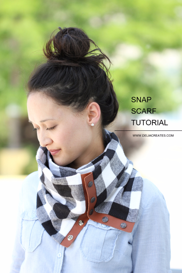 Creative Leather Crafts - Leather Flannel Snap Scarf - Best DIY Projects Made With Leather - Easy Handmade Do It Yourself Gifts and Fashion - Cool Crafts and DYI Leather Projects With Step by Step Tutorials http://diyjoy.com/diy-leather-crafts