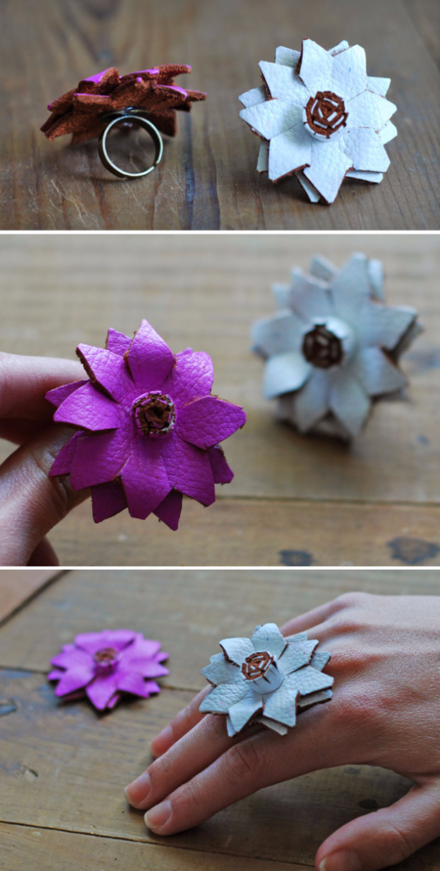 Creative Leather Crafts - Leather Flower Rings - Best DIY Projects Made With Leather - Easy Handmade Do It Yourself Gifts and Fashion - Cool Crafts and DYI Leather Projects With Step by Step Tutorials http://diyjoy.com/diy-leather-crafts