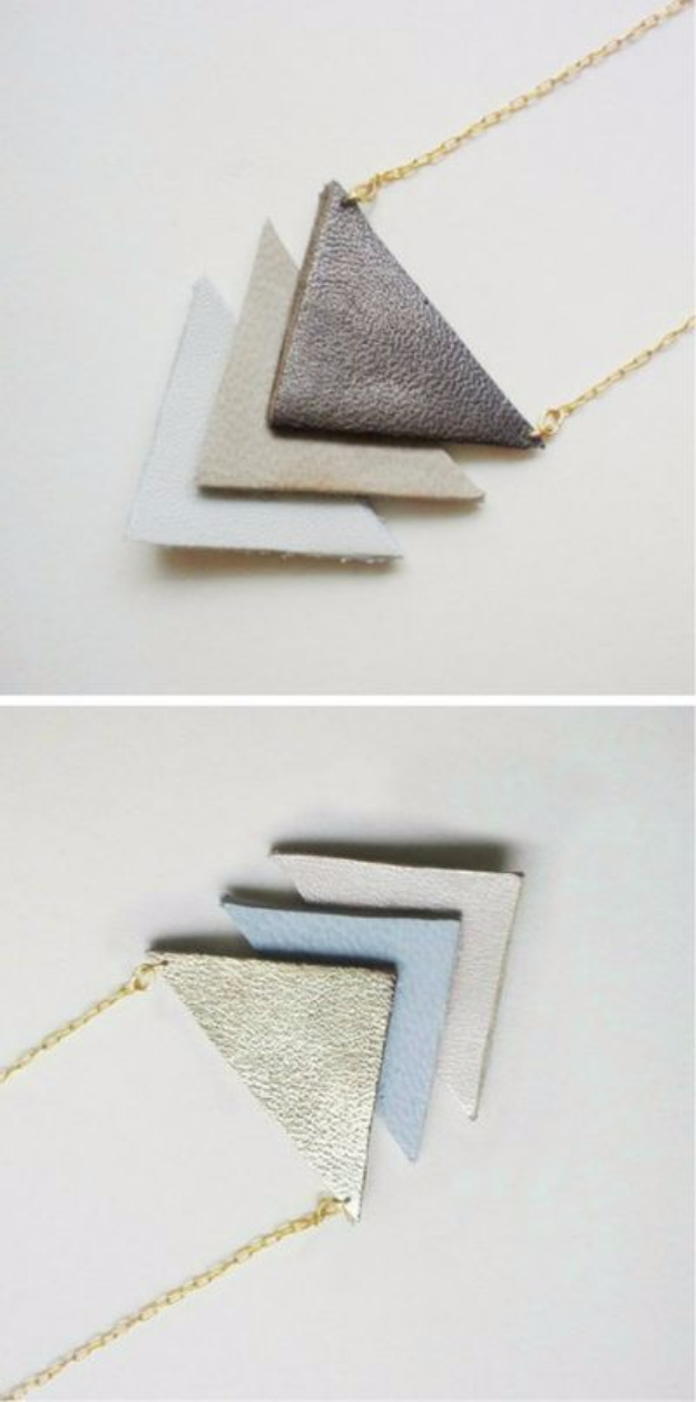 Creative Leather Crafts - Leather Geometric Necklace - Best DIY Projects Made With Leather - Easy Handmade Do It Yourself Gifts and Fashion - Cool Crafts and DYI Leather Projects With Step by Step Tutorials http://diyjoy.com/diy-leather-crafts