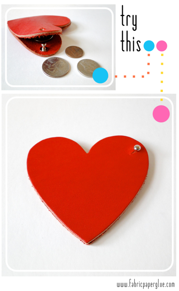 Creative Leather Crafts - Leather Heart Coin Purse - Best DIY Projects Made With Leather - Easy Handmade Do It Yourself Gifts and Fashion - Cool Crafts and DYI Leather Projects With Step by Step Tutorials http://diyjoy.com/diy-leather-crafts