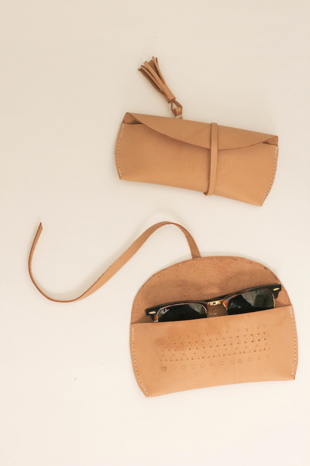 Creative Leather Crafts - Leather Sunglasses Case DIY - Best DIY Projects Made With Leather - Easy Handmade Do It Yourself Gifts and Fashion - Cool Crafts and DYI Leather Projects With Step by Step Tutorials http://diyjoy.com/diy-leather-crafts