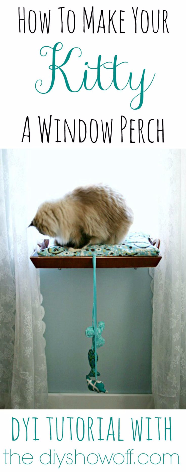DIY Cat Hacks - Make A Window Perch For Your Kitty - Tips and Tricks Ideas for Cat Beds and Toys, Homemade Remedies for Fleas and Scratching - Do It Yourself Cat Treat Recips, Food and Gear for Your Pet - Cool Gifts for Cats http://diyjoy.com/diy-cat-hacks