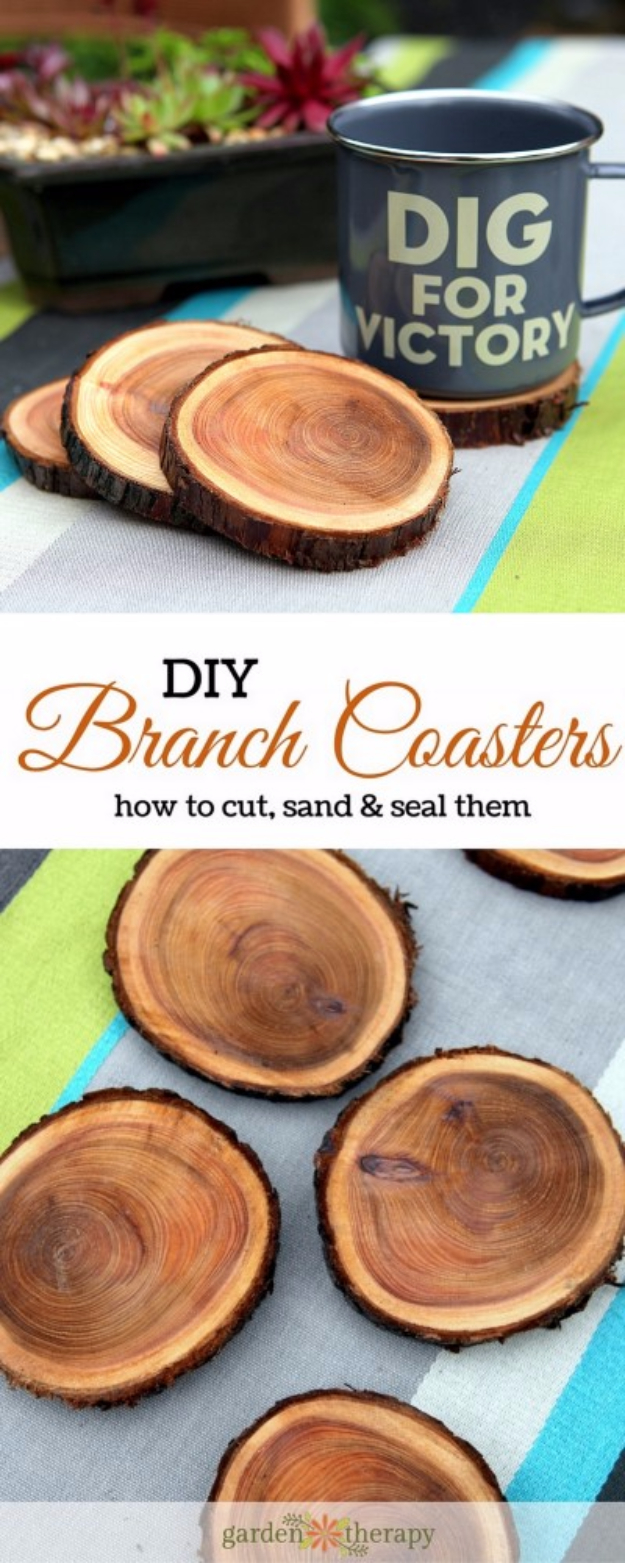 DIY Coasters - Natural Branch Coasters - Best Quick DIY Gifts and Home Decor - Easy Step by Step Tutorials for DIY Coaster Projects - Mod Podge, Tile, Painted, Photo and Sewing Projects - Cool Christmas Presents for Him and Her - DIY Projects and Crafts by DIY Joy