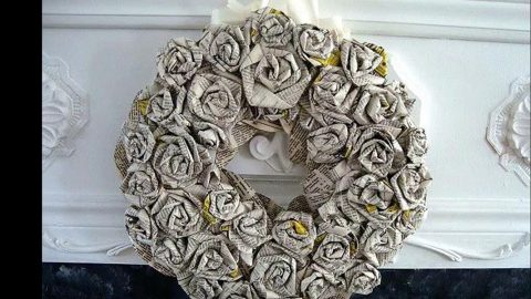 Watch How She Makes This Amazing Rolled Paper Roses Wreath!   DIY Joy Projects and Crafts Ideas