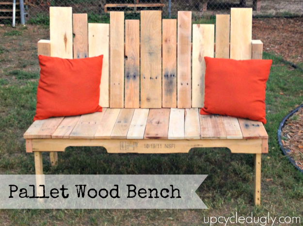 Best DIY Pallet Furniture Ideas - Pallet Wood Bench - Cool Pallet Tables, Sofas, End Tables, Coffee Table, Bookcases, Wine Rack, Beds and Shelves - Rustic Wooden Pallet Furniture Made Easy With Step by Step Tutorials - Quick DIY Projects and Crafts by DIY Joy http://diyjoy.com/best-diy-pallet-furniture-ideas
