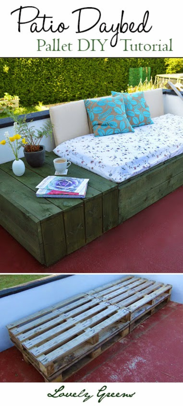 Best DIY Pallet Furniture Ideas - Patio Day Bed - Cool Pallet Tables, Sofas, End Tables, Coffee Table, Bookcases, Wine Rack, Beds and Shelves - Rustic Wooden Pallet Furniture Made Easy With Step by Step Tutorials - Quick DIY Projects and Crafts by DIY Joy http://diyjoy.com/best-diy-pallet-furniture-ideas