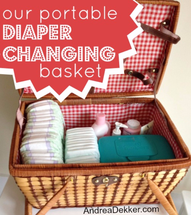 Best DIY Hacks for The New Year - Portable Diaper Changing Basket - Easy Organizing and Home Improvement Ideas - Tips and Tricks for Quick DIY Ideas to Simplify Life - Step by Step Hack Tutorials for Genius Ways to Make Quick Things Easier http://diyjoy.com/best-diy-hacks