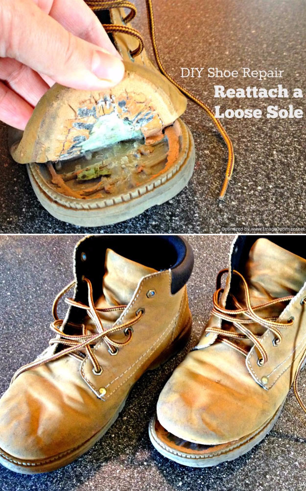 Best DIY Hacks for The New Year - Reattach A Loose Sole - Easy Organizing and Home Improvement Ideas - Tips and Tricks for Quick DIY Ideas to Simplify Life - Step by Step Hack Tutorials for Genuis Ways to Make Quick Things Easier http://diyjoy.com/best-diy-hacks