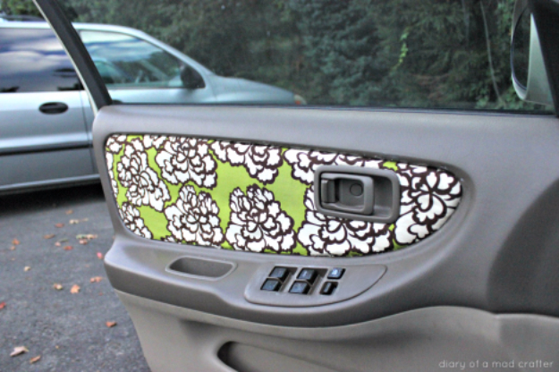 DIY Car Accessories and Ideas for Cars - Reupholster Your Car Door Fabric - Interior and Exterior, Seats, Mirror, Seat Covers, Storage, Carpet and Window Cleaners and Products - Decor, Keys and Iphone and Tablet Holders - DIY Projects and Crafts for Women and Men http://diyjoy.com/diy-ideas-car