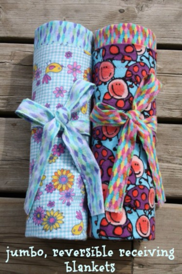 Best Sewing Projects to Make For Girls - Reversible Receiving Blankets - Creative Sewing Tutorials for Baby Kids and Teens - Free Patterns and Step by Step Tutorials for Dresses, Blouses, Shirts, Pants, Hats and Bags #sewing #sewingideas