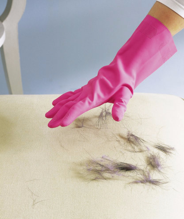 DIY Cat Hacks - Rubber Glove as Pet Hair Remover - Tips and Tricks Ideas for Cat Beds and Toys, Homemade Remedies for Fleas and Scratching - Do It Yourself Cat Treat Recips, Food and Gear for Your Pet - Cool Gifts for Cats http://diyjoy.com/diy-cat-hacks
