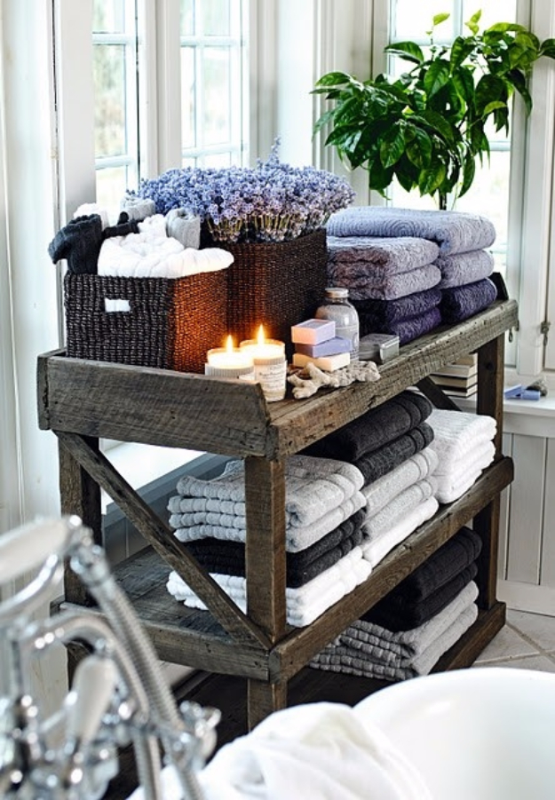 Best DIY Pallet Furniture Ideas - Rustic Towel Shelf - Cool Pallet Tables, Sofas, End Tables, Coffee Table, Bookcases, Wine Rack, Beds and Shelves - Rustic Wooden Pallet Furniture Made Easy With Step by Step Tutorials - Quick DIY Projects and Crafts by DIY Joy