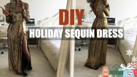 She Makes A Stunning Sequin Holiday Dress Just In Time For New Years Eve! | DIY Joy Projects and Crafts Ideas