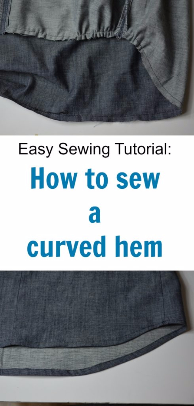 sewing hacks - Sew A Perfect Curved Hem - Best Tips and Tricks for Sewing Patterns, Projects, Machines, Hand Sewn Items #sewing #hacks