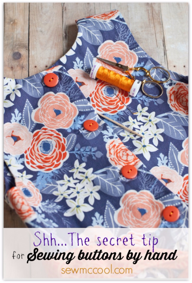 More Sewing Hacks - Sew Buttons By Hand - Best Tips and Tricks for Sewing Patterns, Projects, Machines, Hand Sewn Items. Clever Ideas for Beginners and Even Experts - Easy Tutorials, Patten Shortcuts and How To http://diyjoy.com/best-diy-sewing-hacks
