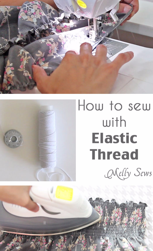 sewing hacks - Sew With Elastic Thread - Best Tips and Tricks for Sewing Patterns, Projects, Machines, Hand Sewn Items #sewing #hacks