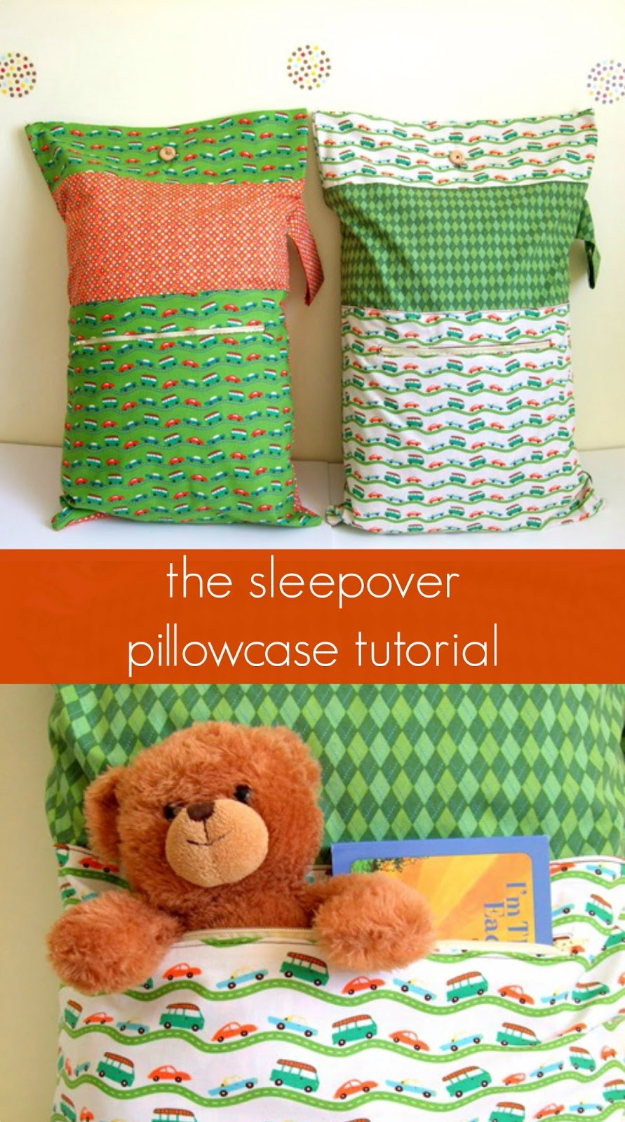 Best Sewing Projects to Make For Girls - Sleepover Pillowcase - Creative Sewing Tutorials for Baby Kids and Teens - Free Patterns and Step by Step Tutorials for Dresses, Blouses, Shirts, Pants, Hats and Bags - Easy DIY Projects and Quick Crafts Ideas http://diyjoy.com/cute-sewing-projects-for-girls