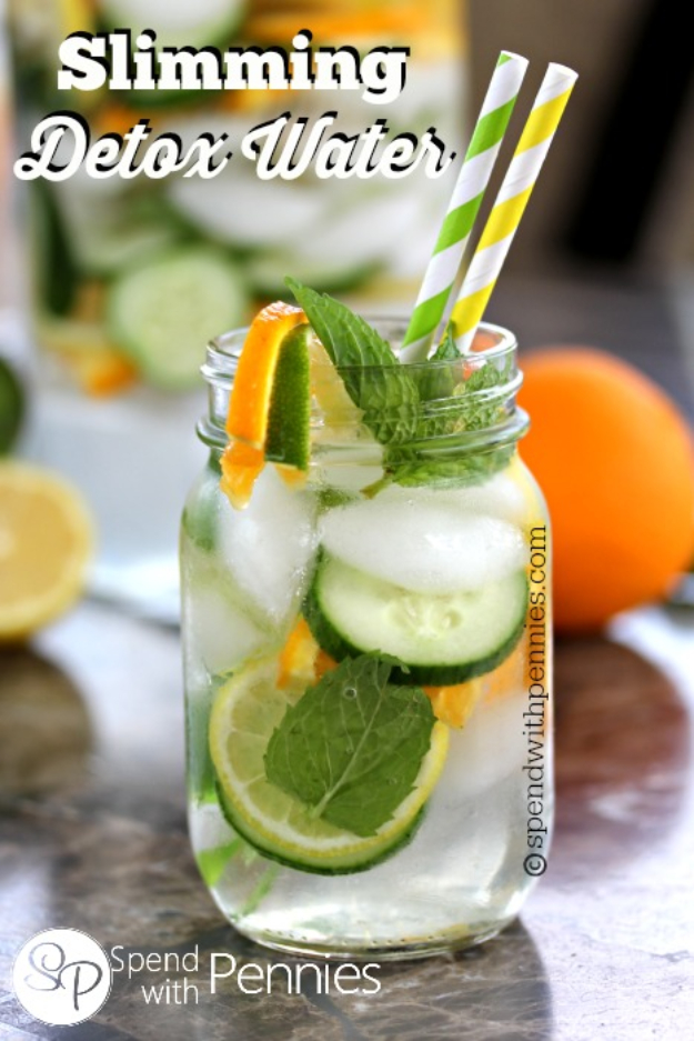 Best DIY Detox Waters and Recipes - Slimming Detox Water - Homemade Detox Water Instructions and Tutorials - Lose Weight and Remove Toxins From the Body for Your New Years Resolutions - Easy and Quick Recipe Ideas for Getting Healthy in 2017 - DIY Projects and Crafts by DIY Joy