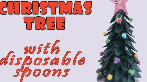 Watch How She Makes This Amazing Christmas Tree Out Of Disposable Spoons! | DIY Joy Projects and Crafts Ideas