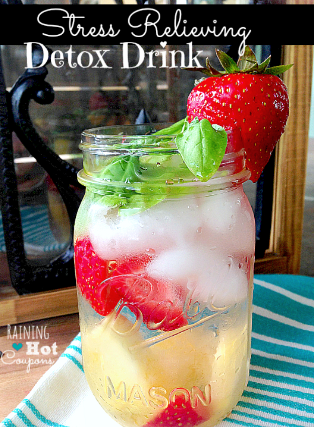 Best DIY Detox Waters and Recipes - Stress Relieving Detox Drink - Homemade Detox Water Instructions and Tutorials - Lose Weight and Remove Toxins From the Body for Your New Years Resolutions - Easy and Quick Recipe Ideas for Getting Healthy in 2017 - DIY Projects and Crafts by DIY Joy