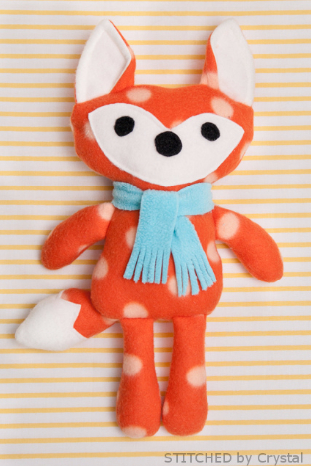 Best Sewing Projects to Make For Boys - Stuffed Fox - Creative Sewing Tutorials for Baby Kids and Teens - Free Patterns and Step by Step Tutorials for Jackets, Jeans, Shirts, Pants, Hats, Backpacks and Bags - Easy DIY Projects and Quick Crafts Ideas #sewing #kids #boys #sewingprojects