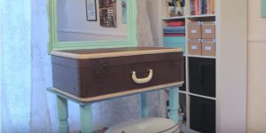 Watch How She Cleverly Makes This Amazing Vanity Out Of A Suitcase!